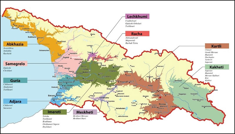 The wine region appellations of Georgian wine · Hudin